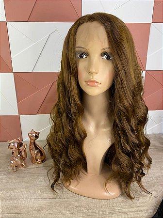 Front Lace Cacheada Chocolate 50cm Suzana + Brinde Jachair