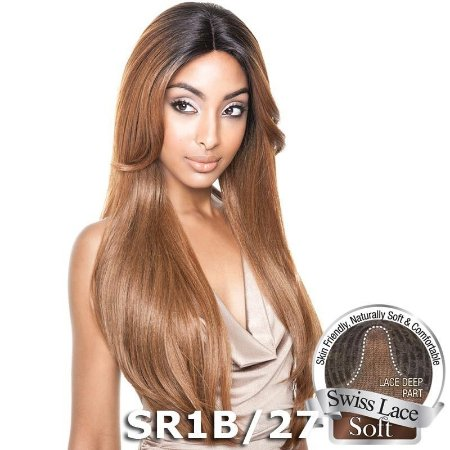Peruca  Front Lace   ISIS Brown Sugar Human Hair Blend Soft Swiss - BS216