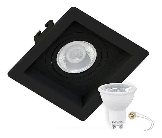 Kit Spot Recuado Embutir Mr16 Dicroica Com Lâmpada Led 4,5w