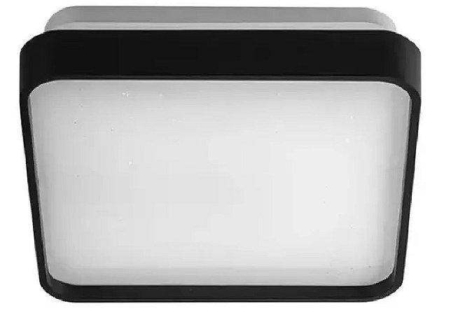 Luminária Led Plafon 12w Preto Sobrepor Quadrado Borda Black