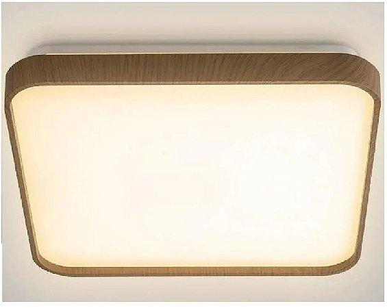 Plafon Led Luminária 40x40 Sobrepor 24w Borda Amadeirada