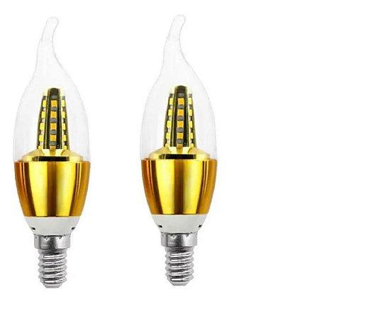 Kit 2 Lampada Vela Led Cristal 5w Dourada Com Bico Bocal E14