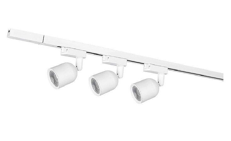 Kit Trilho Elegance Branco Fosco Para 3 Lâmpadas De 7W Iluminação