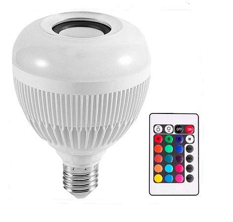 Lâmpada Led RGB 12w com Caixa de Som Bluetooth e Controle Remoto
