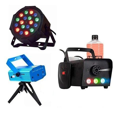Kit Iluminação Balada Festa Profissional Dj Led Laser Fumaça
