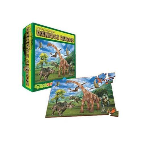Super Quebra-Cabeça Dinossauros 75 Peças em MDF
