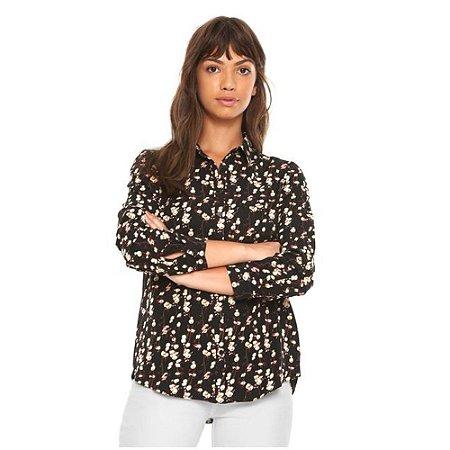 Camisa Facinelli Floral Preta