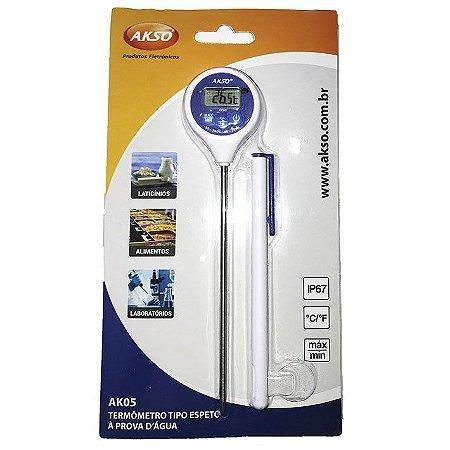Termômetro Digital Tipo Espeto Prova de Água AK05 de -50C a +200C haste 120mm