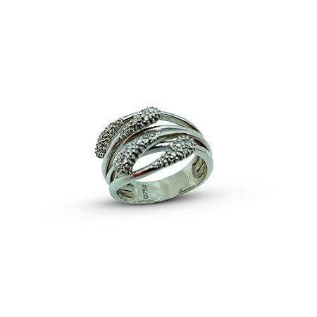 anel ouro branco18k com brilhantes