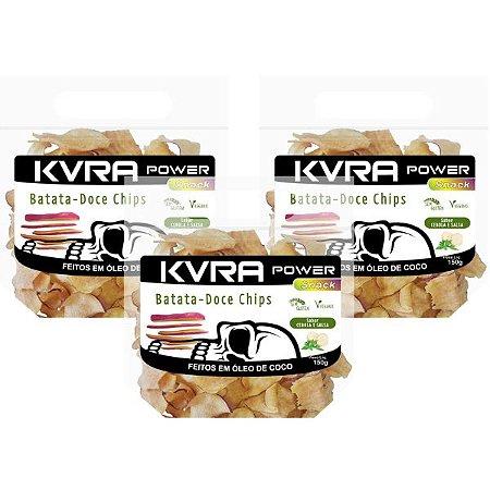 Power Snack - Chips de Batata-doce - Cebola e Salsa - kit com 3 unidades