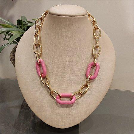 Colar Dourado Elo Pink