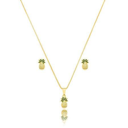 Conjunto Dourado Abacaxi Petit