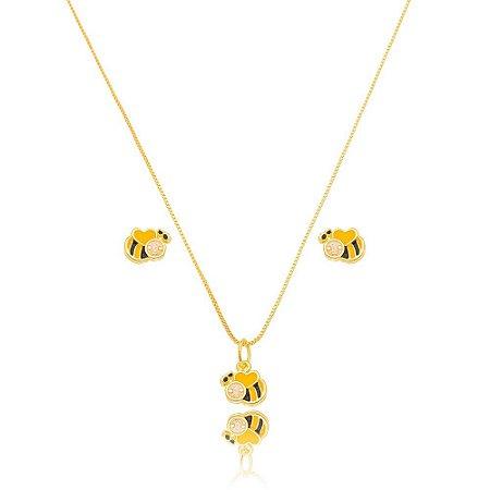Conjunto Dourado Abelha Petit