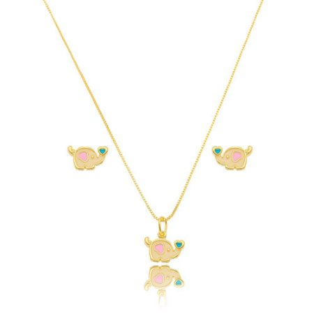 Conjunto Dourado Elefante Petit