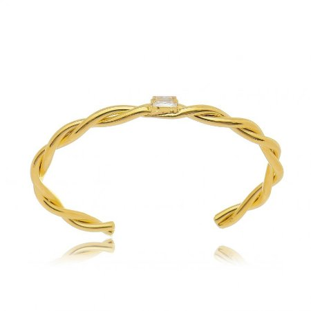 Bracelete Dourado Torcido Zircônia