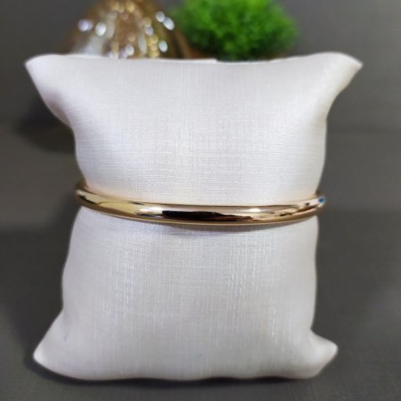 Bracelete Dourado Liso Oval