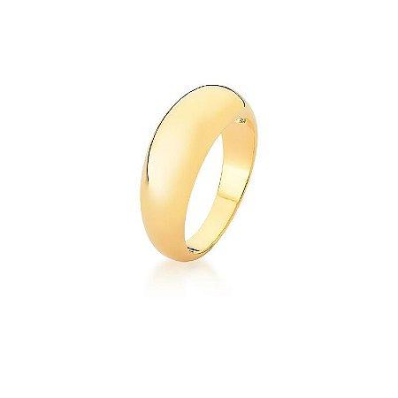 Anel Dourado Oval Liso