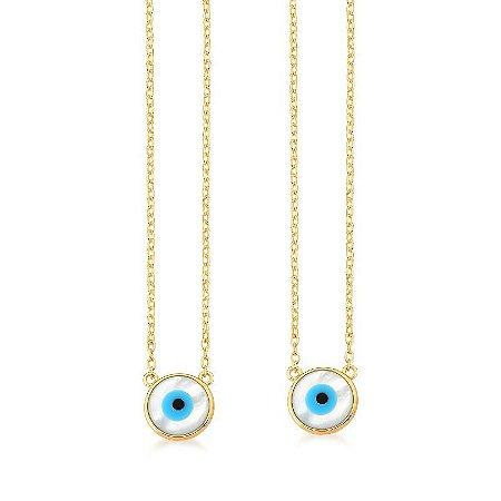 Colar Escapulário Dourado Olho Grego Madreperola