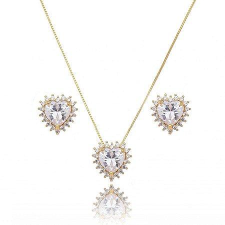 Conjunto Dourado Coração com Cristal e Zircônias