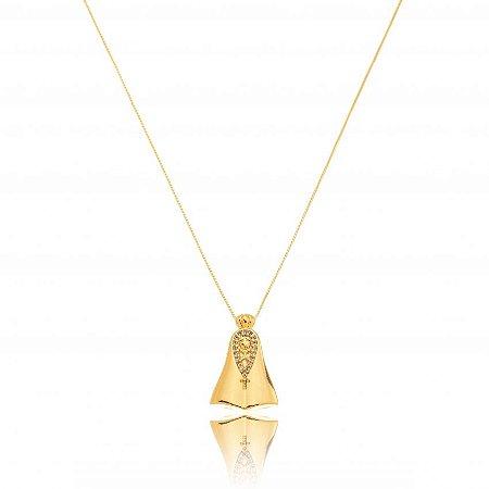 Colar Dourado Nossa Senhora com Zircônias