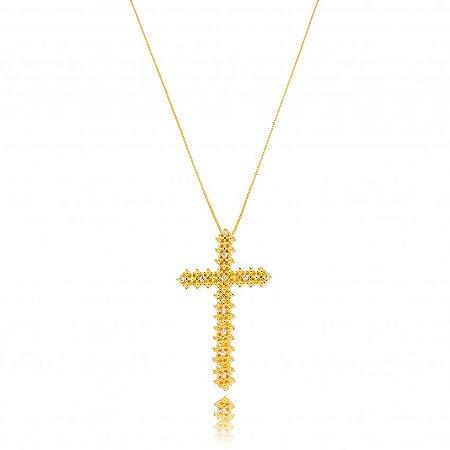 Colar Dourado Cruz com Zircônias