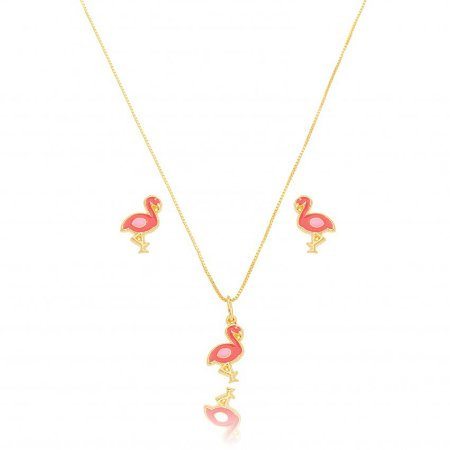 Conjunto Dourado Petit Flamingo