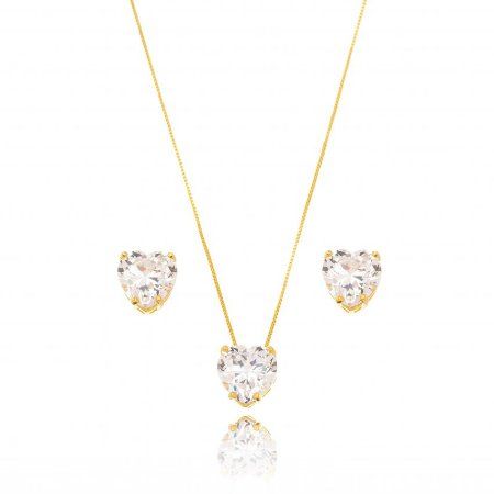 Conjunto Dourado Coração Cristal