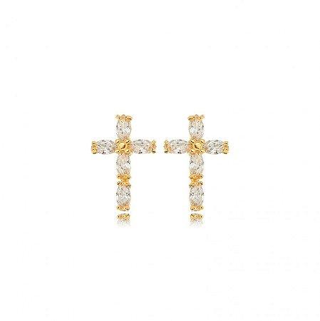 Brinco Dourado Cruz Zircônias