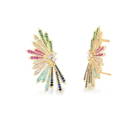 Brinco Dourado Ear Cuff com Zircônias Multicolor