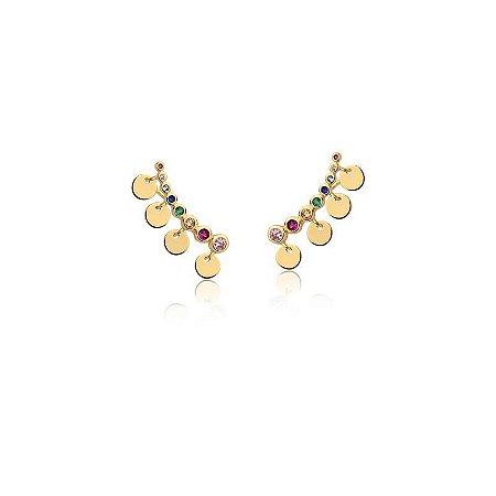 Brinco Dourado Ear Cuf com Zircônias Multicolor