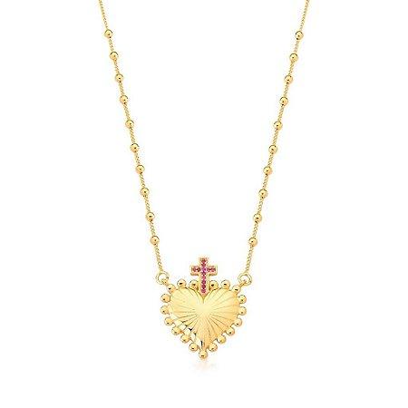Colar Dourado Coração com Cruz e Zircônias Rosa