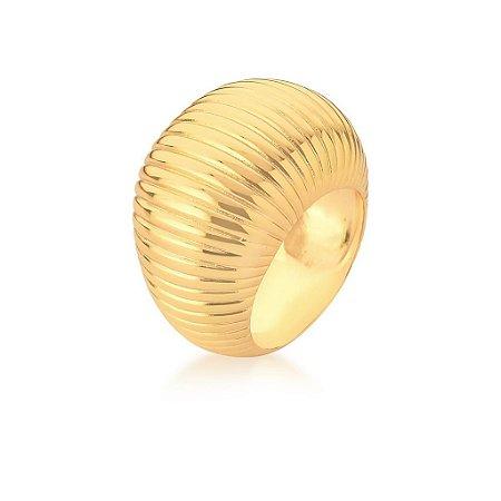 Anel Dourado Oval Grande