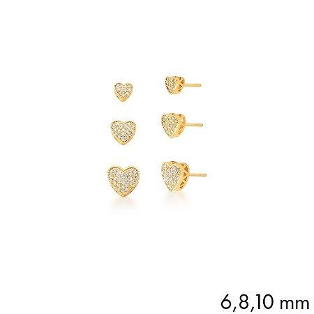Trio de Brincos Dourados Coração com Zircônias