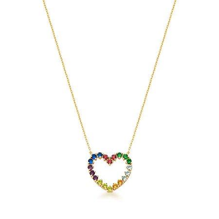 Colar Dourado Coração Vazado Rainbow