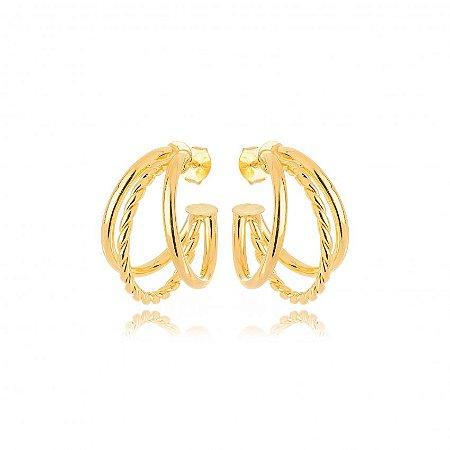 Argola Dourada Três Fileiras