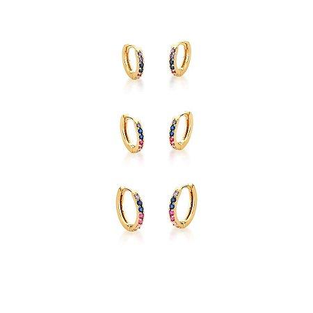 Trio de Argolas Dourada com Zircônias Multicolor