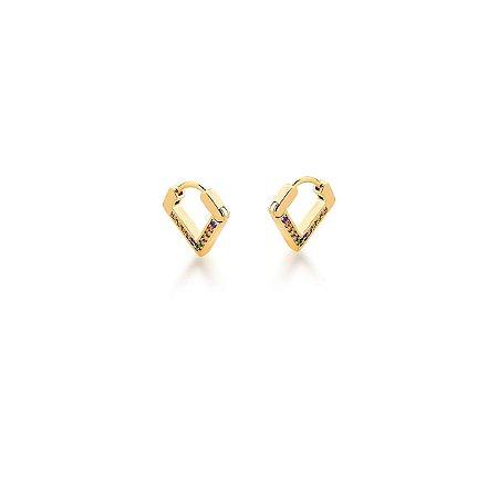 Argola Dourada Triangular com Zircônias Coloridas