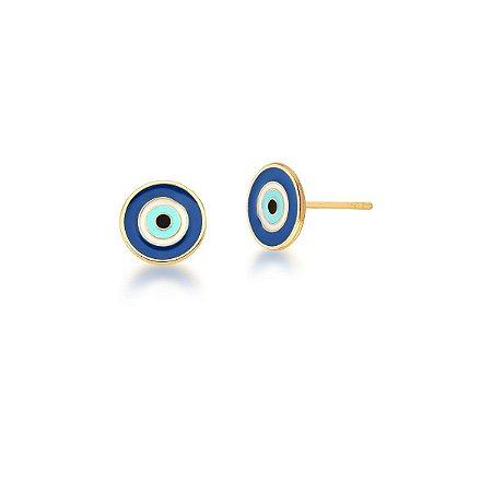 Brinco Dourado Olho Grego Esmaltado