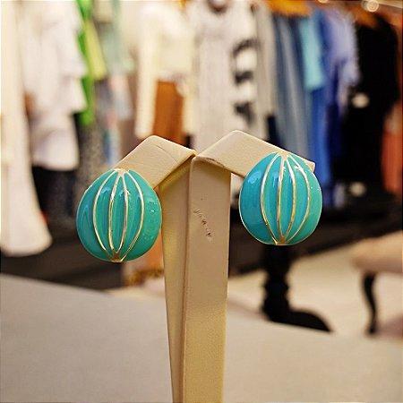 Brinco Dourado Balão Esmaltado Verde