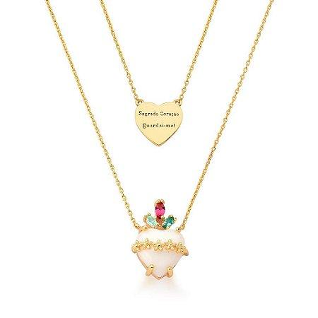 Colar Dourado Duplo Sagrado Coração de Jesus Madreperola