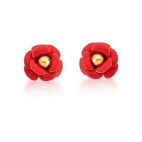 Brinco Dourado Flor Esmaltado Vermelho