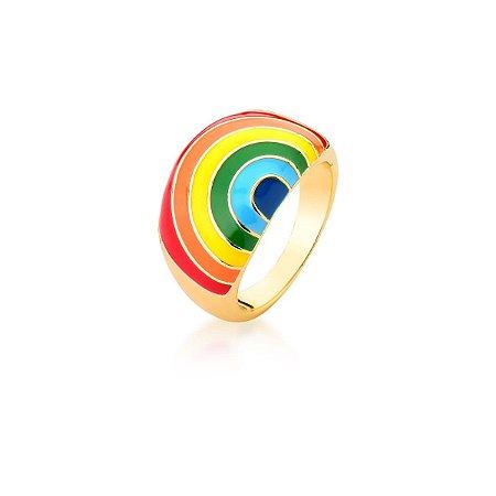 Anel Dourado Esmaltado Rainbow