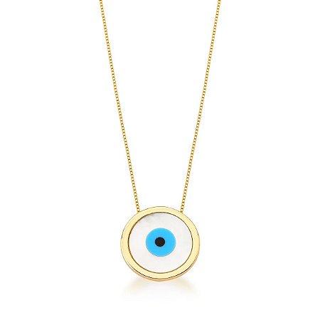 Colar Dourado Olho Grego Madreperola