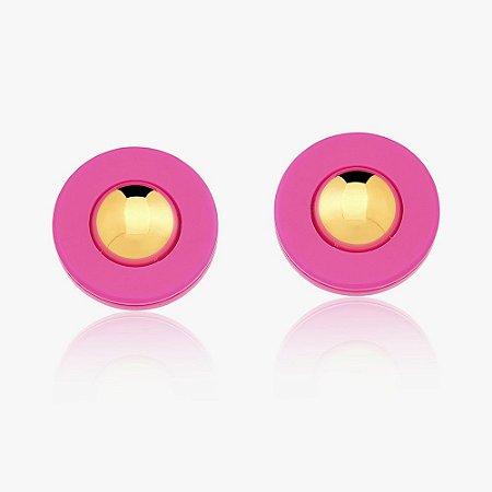 Brinco Dourado Botão Resina Pink