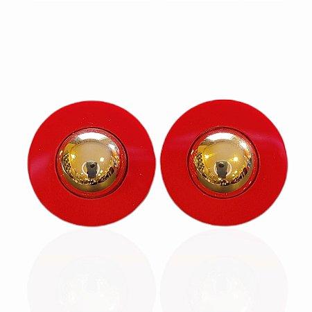 Brinco Dourado Botão Resina Vermelho