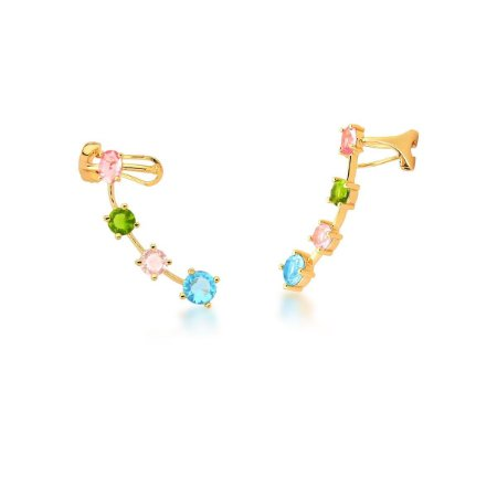 Brinco Dourado Ear Cuff Zircônias Multicolor