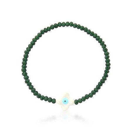 Pulseira Cristal Verde com Olho Grego