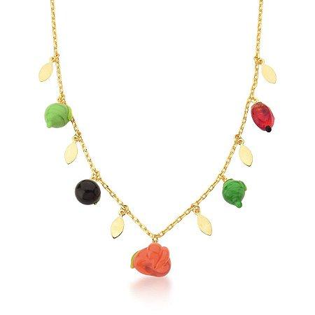 Colar Dourado com Frutas Coloridas em Resina