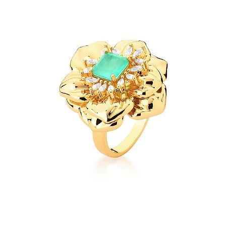 Anel Dourado Flor Pedra Cristal Turmalina