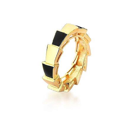 Anel Dourado Esmaltado Preto